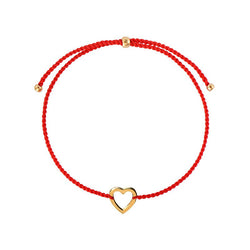Heart string bracelet/ gold plated silver, red nylon string