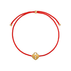 Lock string bracelet/ gold plated silver, red nylon string