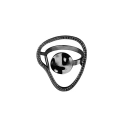 Fluid ring / black plated silver with black stones