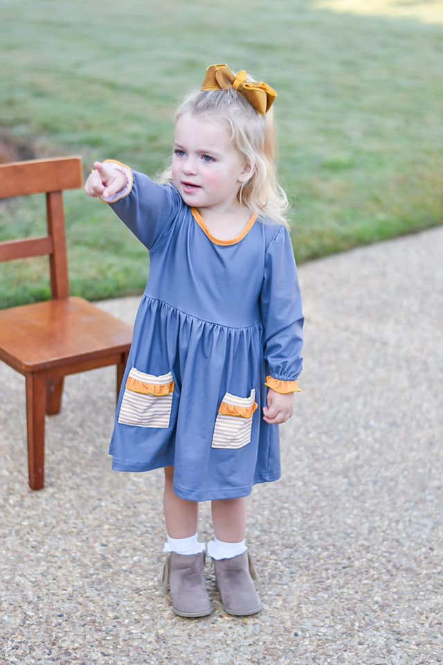 girls grey and mustard knit dress