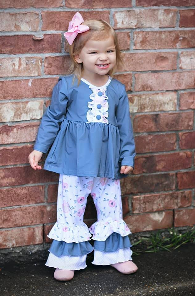 Girls gray and floral pants set
