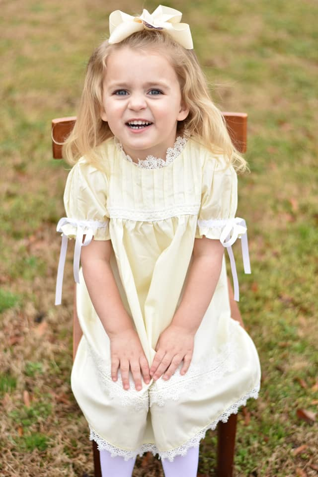 Girls Cream Heirloom dress