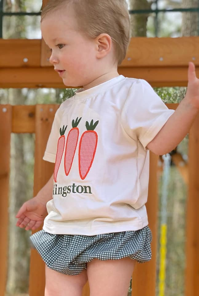 Carrot applique unisex diaper set