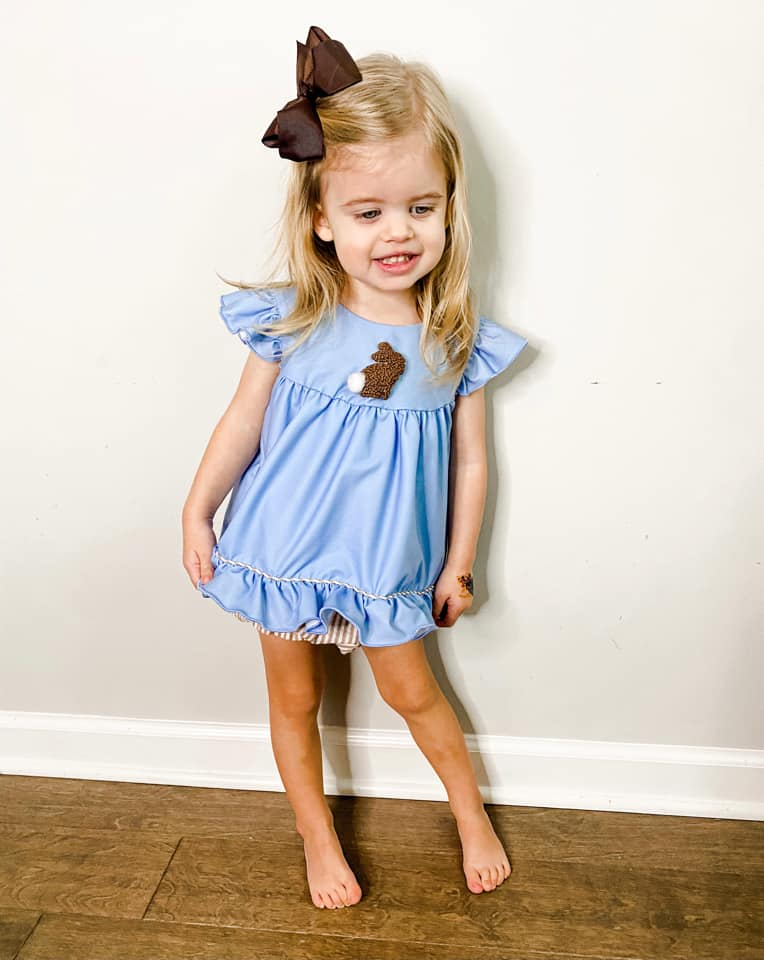 girls brown French knot bunny bloomer set