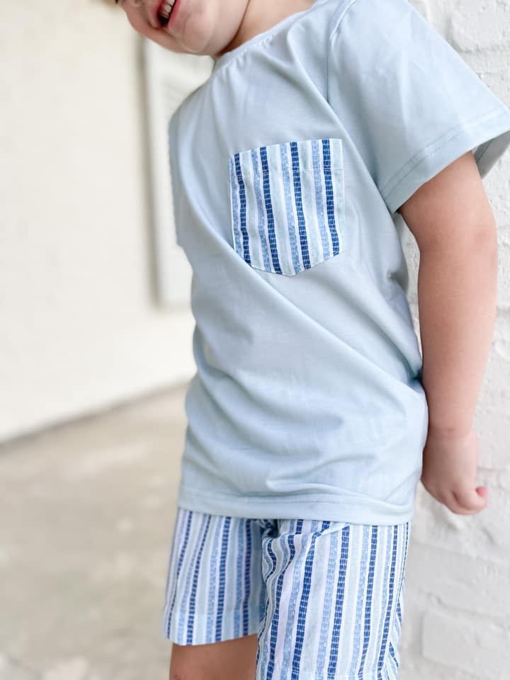 Boys Sage and Blue Stripe Short Set