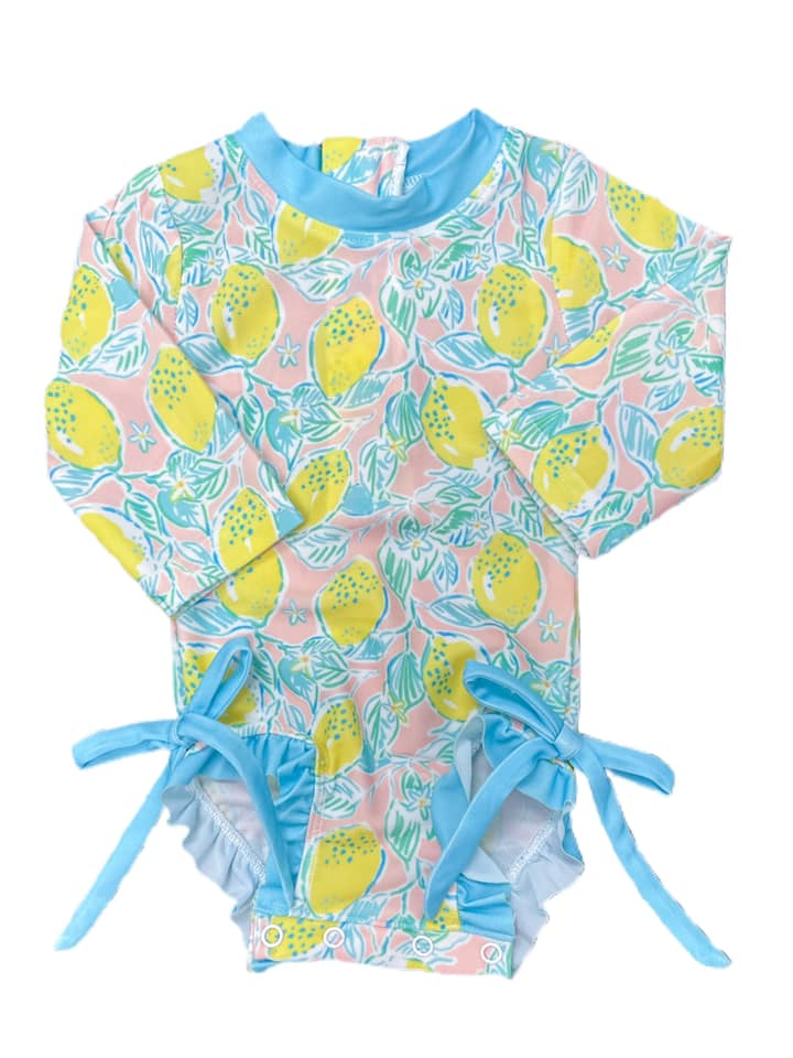 Girls Lemon One Piece Swimsuit with side ties