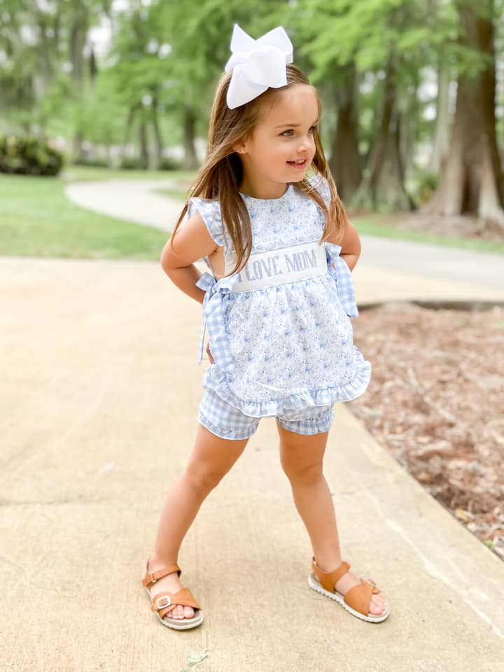 Girls I Love Mom Bubble Short Set