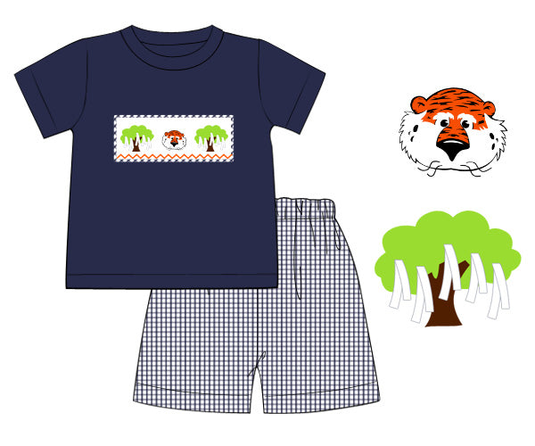 Boys navy tiger smocked short set