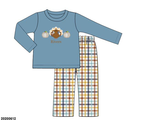 boys turkey applique plaid pant set