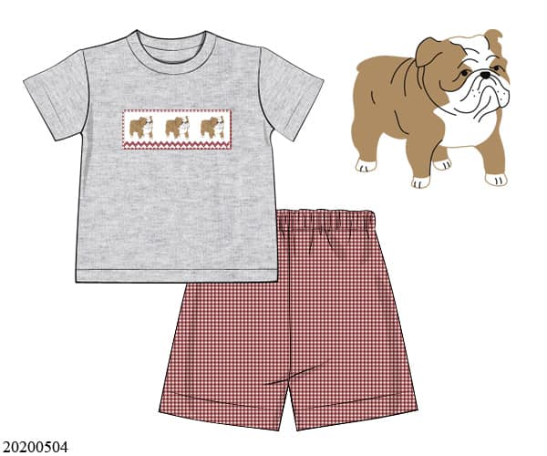 boys bulldog smocked short set