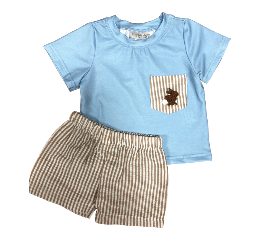 brown French knot bunny boys short set