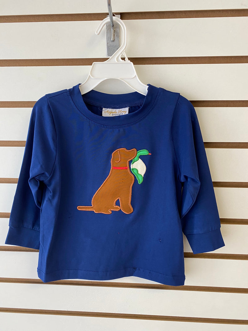 Dog with Duck appliqué Shirt Only