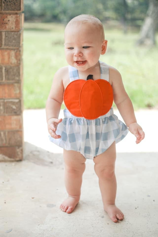 Boys pumpkin sunsuit