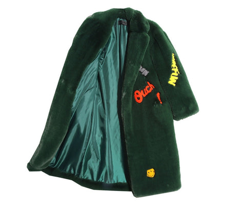 Patchwork Iron On The Pom Pommery Faux Fur Forest Green emoji coat jacket
