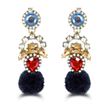 Luxe Rhinestone Chrystal pom pom earrings