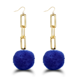 Blue Chunky Gold Chain Pom Pom Earring