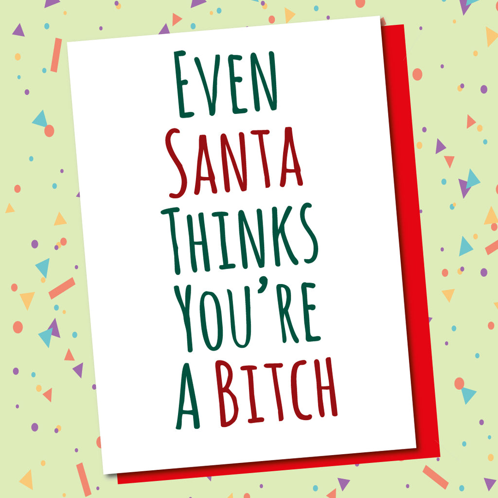 Pack Of 5 Cards, Santa Bitch