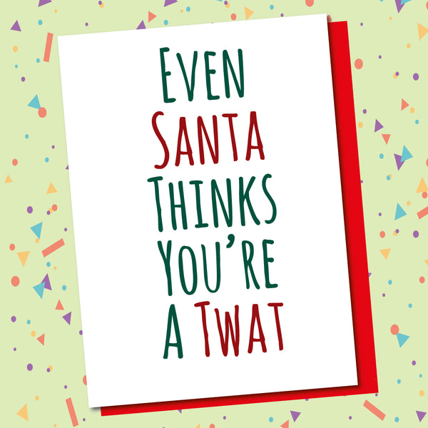 Pack Of 5 Cards, Santa Twat