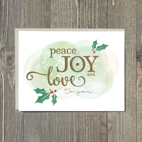 Peace, Joy and Love to You Notecards, 10pk
