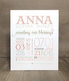 Counting Our Blessings Custom Baby Stats Print