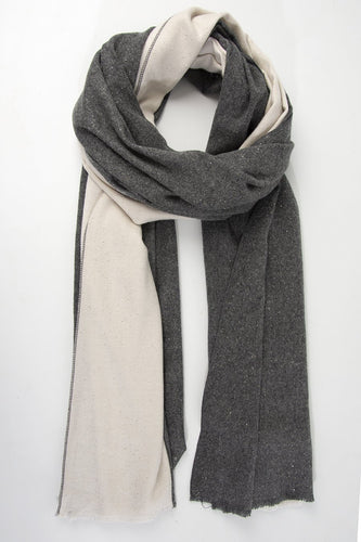 Dark Grey & Cream Sparkle Scarf