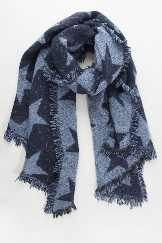 Blue Asymmetric Star Scarf