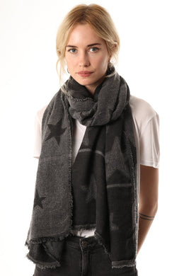 Dark Grey Two-Tone Star Scarf