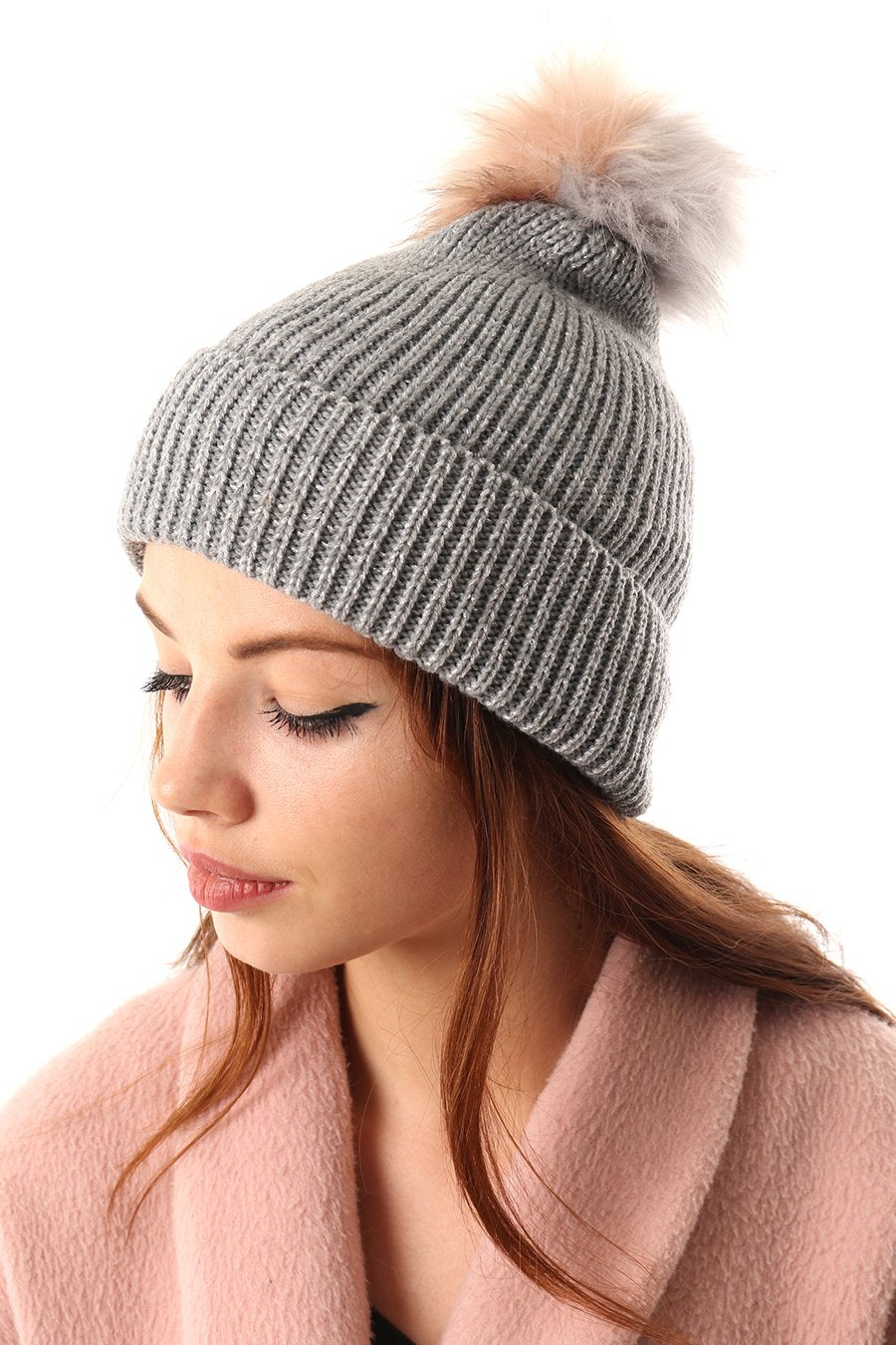 Grey Hat with Grey & Pink Pom Pom