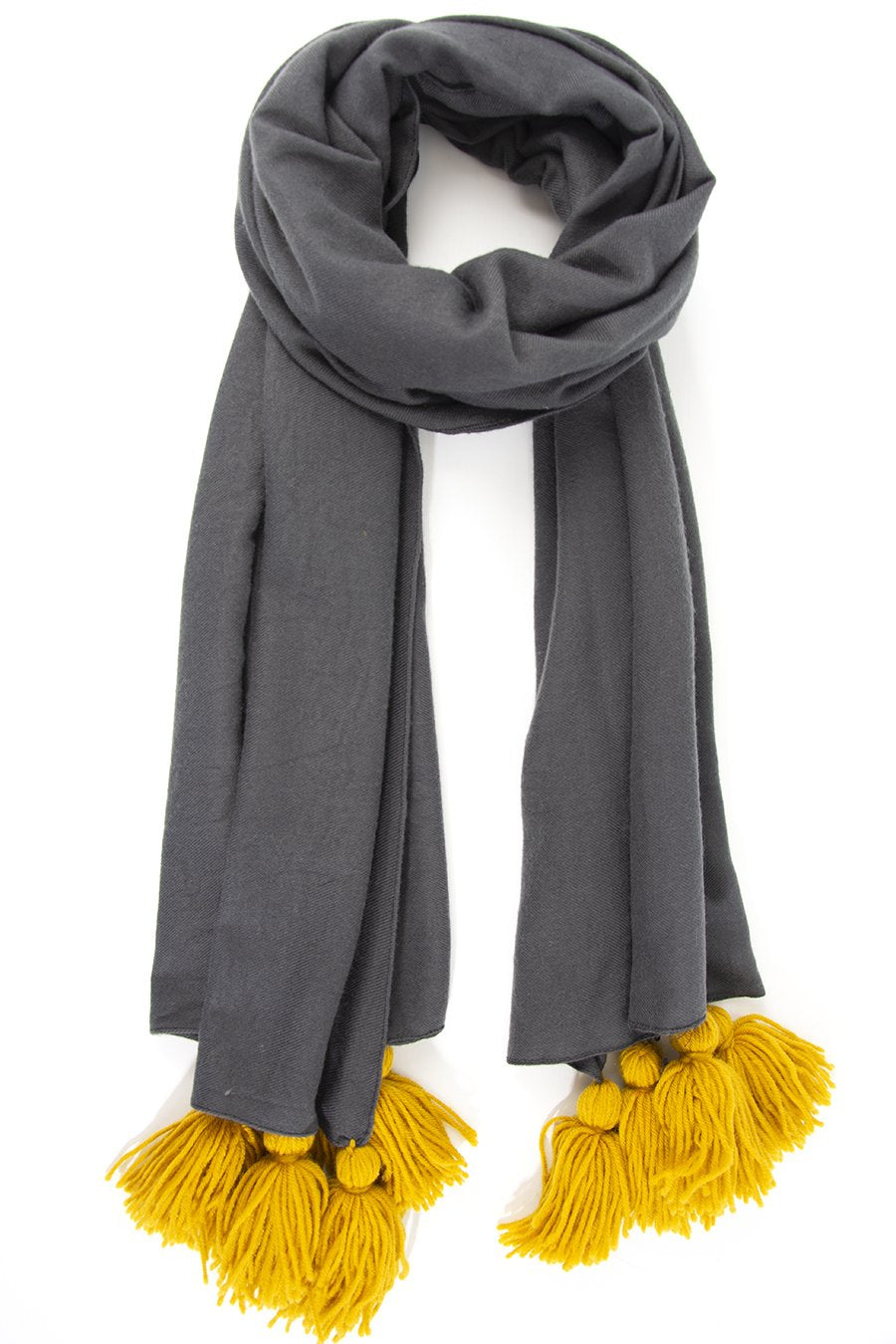 Grey with Mustard Tassel Scarf