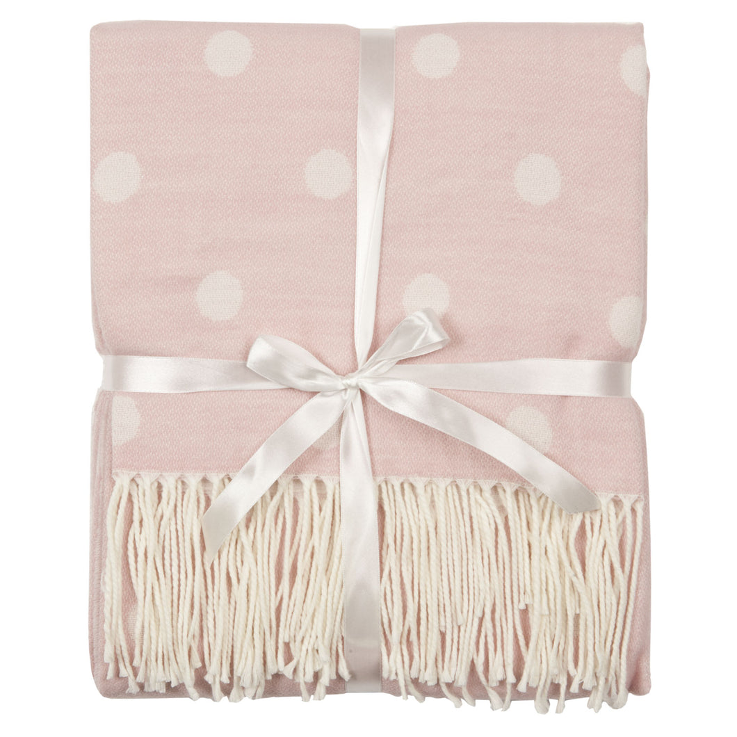 Soft Pink Spotty Throw