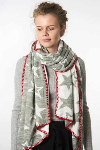 Grey Cream & Red Star Scarf
