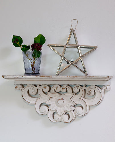 White Hand Carved Shelf