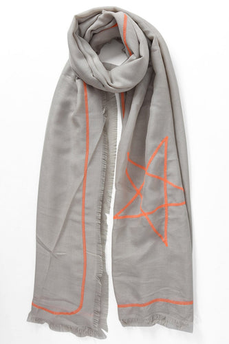 Grey Scarf with Neon Stars