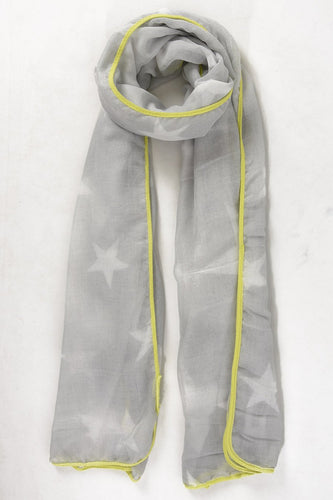 Grey & Neon Yellow Star Scarf
