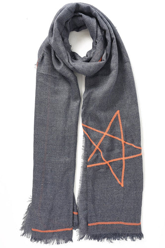 Navy Scarf with Orange Stars