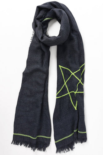 Navy Scarf with Neon Yellow Stars