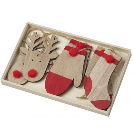 Box of 6 Wooden Decorations
