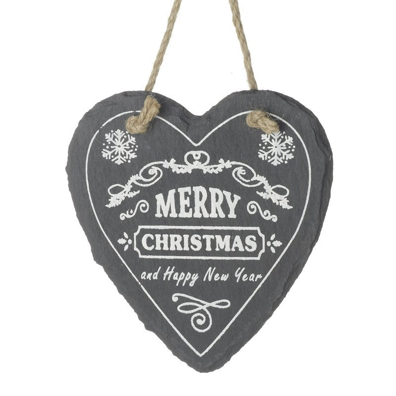 Slate Heart Hanging Decoration