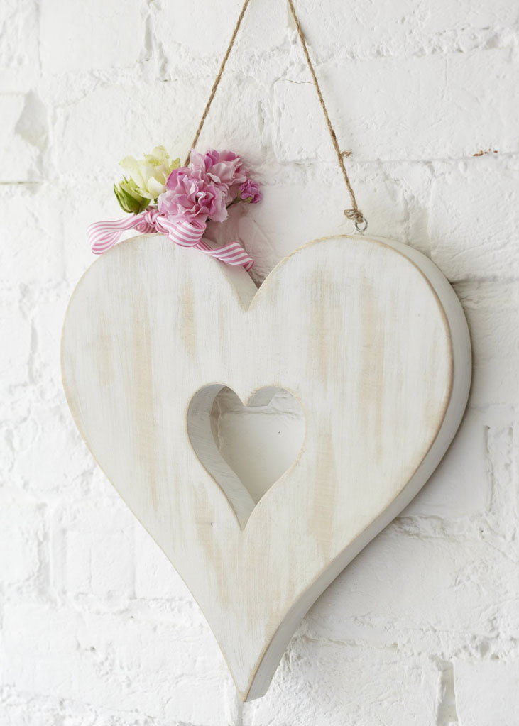White Wood Hanging Heart