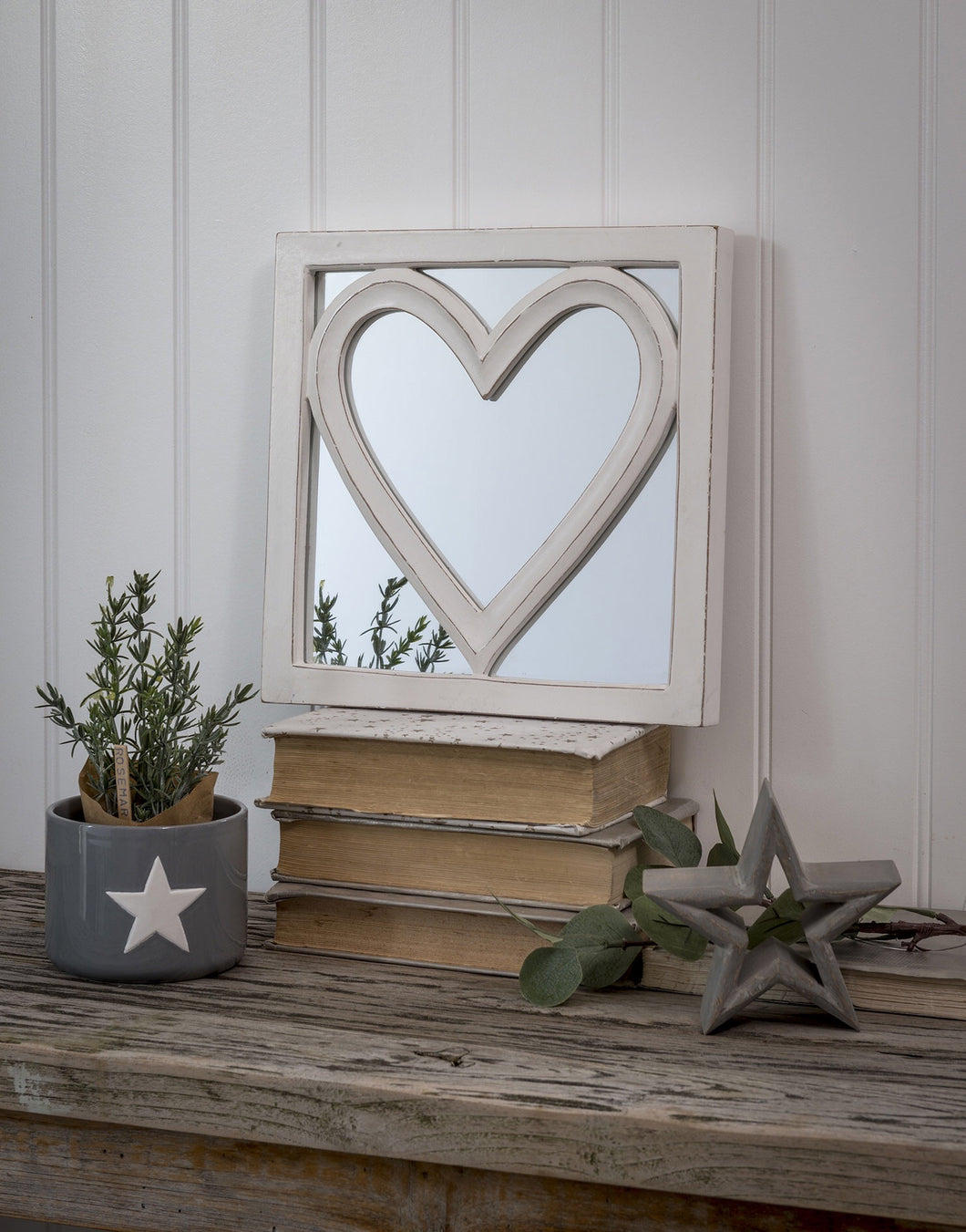 Carved Heart Shaped Mirror