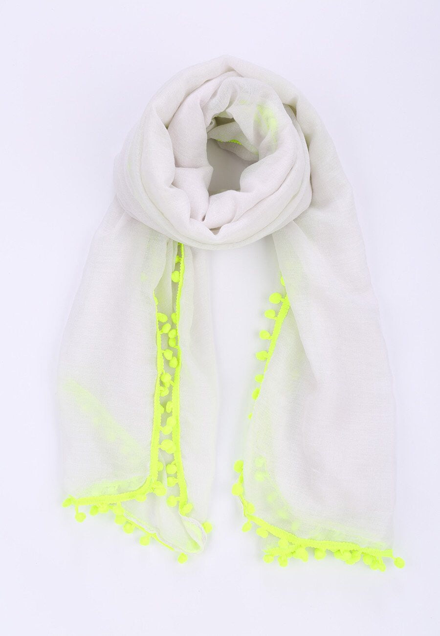 White and Neon Pompom Scarf