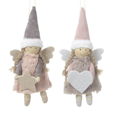 Hanging Fabric Angel with Grey Hat