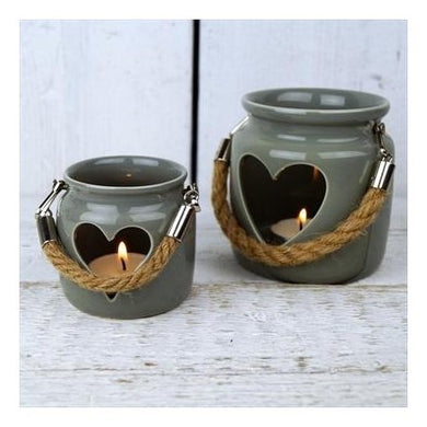 Small Grey Porcelain Tealight Holder