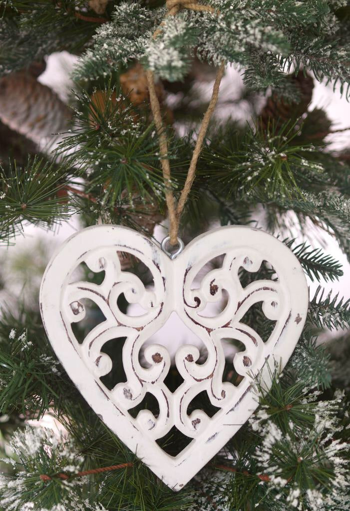 White Ornate Hanging Heart