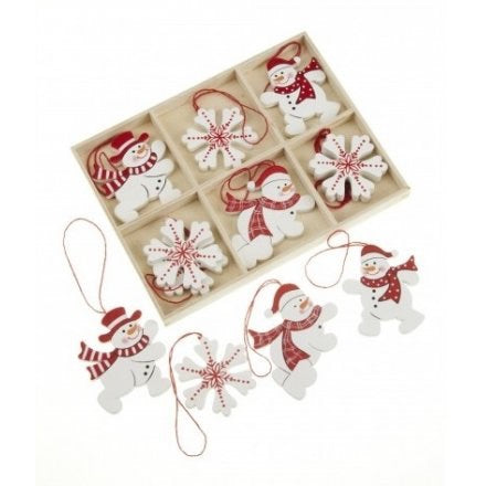 Box of 12 Snowman Decorations