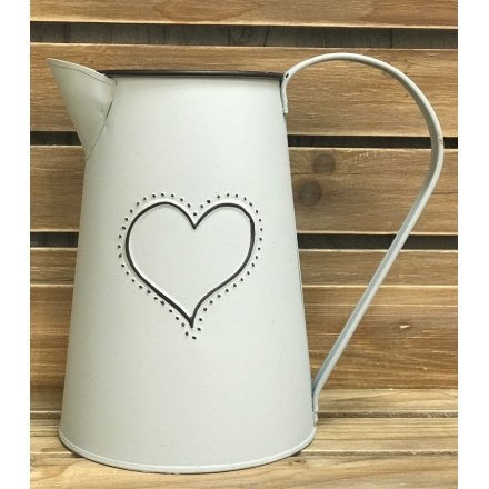 Grey Metal Heart Jug
