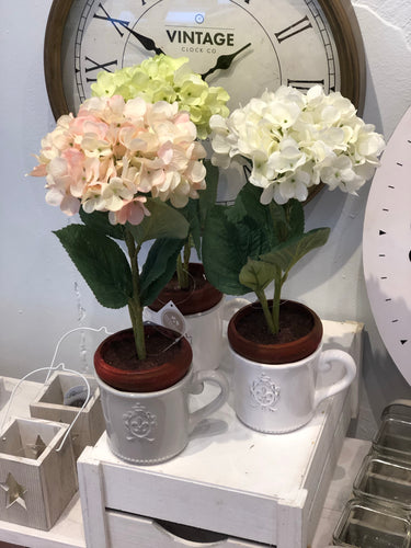 Faux Hydrangea in Ceramic Cup Style Pot