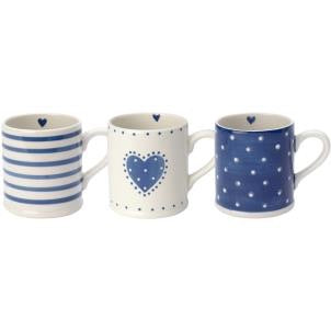 Blue & White Heart Mug