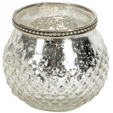 Large Silver Textured Tealight Holder