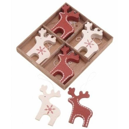 Boxed Nordic Reindeer Decorations